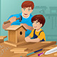 Father Son Making a Birdhouse - GraphicRiver Item for Sale