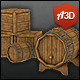 Low Poly Barrel and Cask Set - 3DOcean Item for Sale