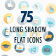 Business Icons Flat Long Shadow 120-degree