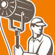 Electrical Lighting Technician With Spotlight - GraphicRiver Item for Sale
