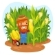 Harvesting Farmer in a Cornfield - GraphicRiver Item for Sale