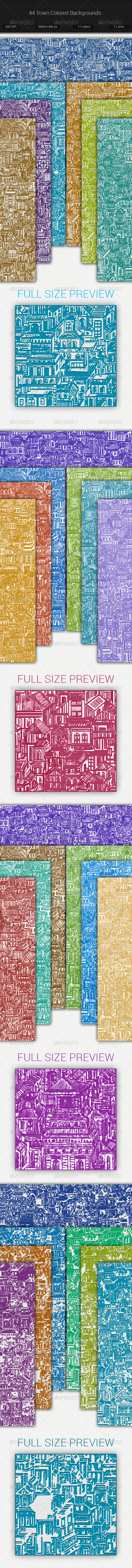 GraphicRiver 44 Town Backgrounds Set 7533125