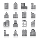 Edifice Buildings Icons Set - GraphicRiver Item for Sale