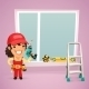 Female Worker is Installing the Window - GraphicRiver Item for Sale