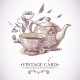 Vintage Card with Cup, Pot, Flowers and Butterfly - GraphicRiver Item for Sale