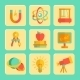 Physics Flat Design Icons Set - GraphicRiver Item for Sale