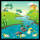Landscape with River and Fish. - GraphicRiver Item for Sale