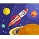 Rocket in Space Print - GraphicRiver Item for Sale