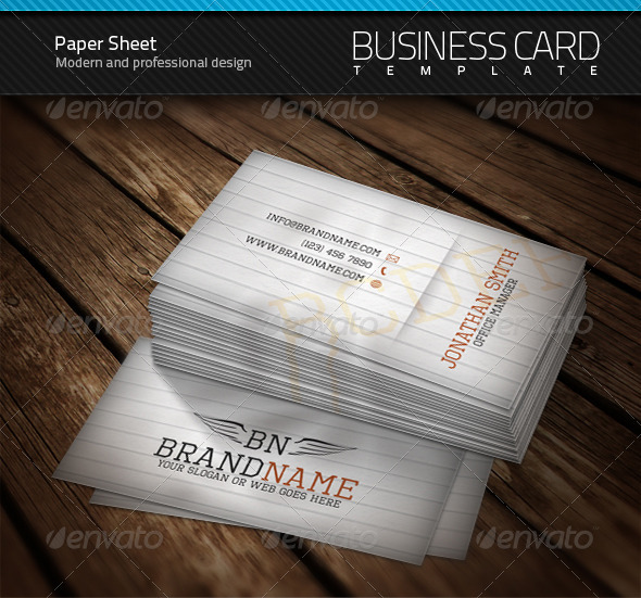 GraphicRiver Paper Sheet Business Card 106962