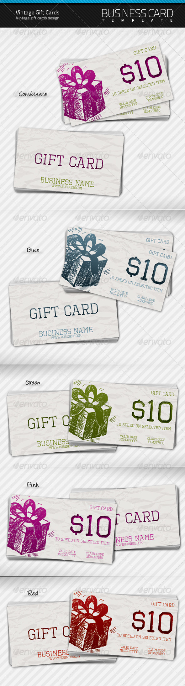 GraphicRiver Vintage Gift Cards 138575