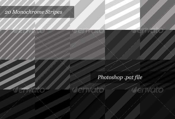 GraphicRiver Monochrome Striped Backgrounds 20 Patterns 32473