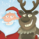 Christmas vector card with Rudolph and Santa - GraphicRiver Item for Sale