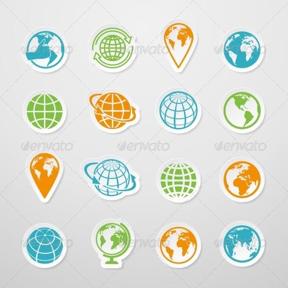 GraphicRiver Sticker Globe Icons 7690485