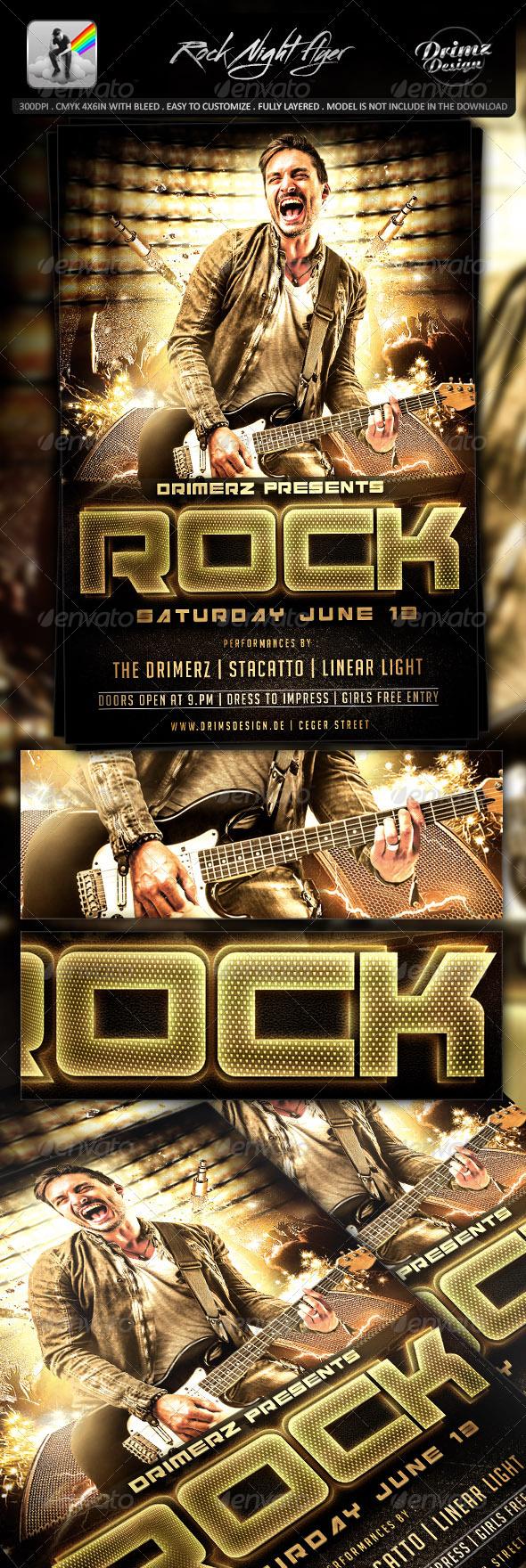 GraphicRiver Rock Night Flyer 7700665