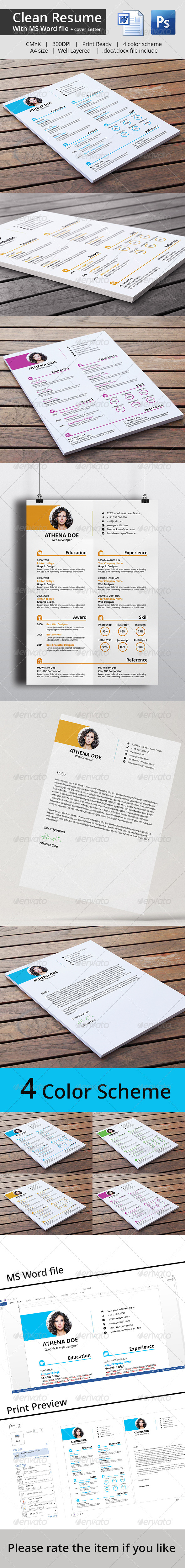 GraphicRiver Clean Resume & Cover Letter With MS Word 7700749