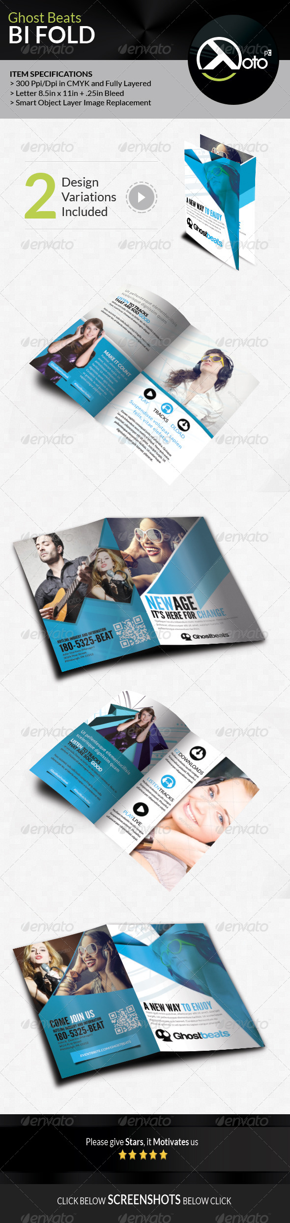 GraphicRiver Ghost Beats Music Downloads BiFold 7700999