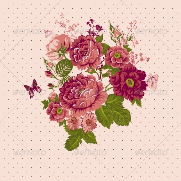 GraphicRiver Vintage Roses Background with Butterflies 7717583