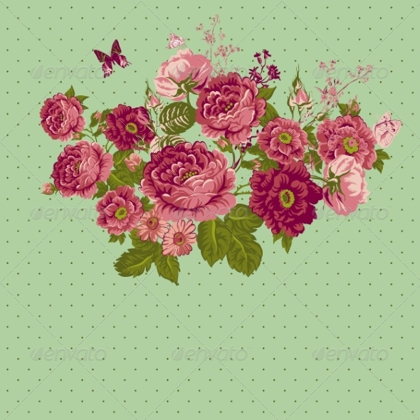 GraphicRiver Vintage Roses Background with Butterflies 7717589
