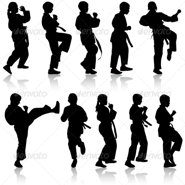GraphicRiver Set of Kids Karate Silhouettes 7719583