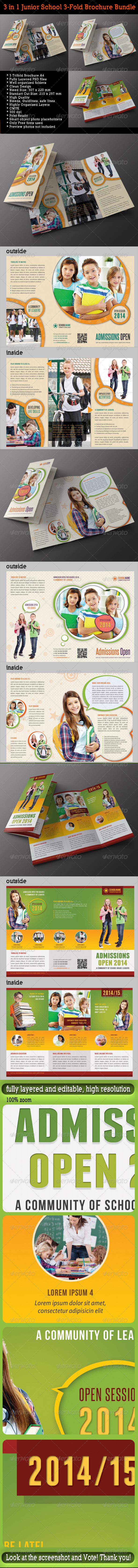 GraphicRiver 3 in 1 Junior School Promotion Brochure Bundle 01 7721129