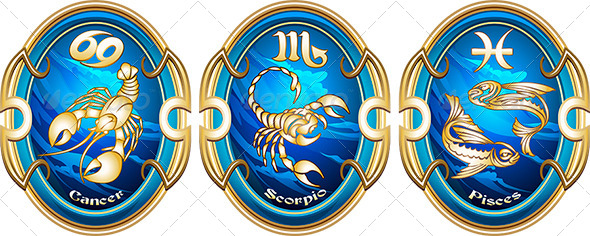 GraphicRiver Zodiac Signs of Water 7722040