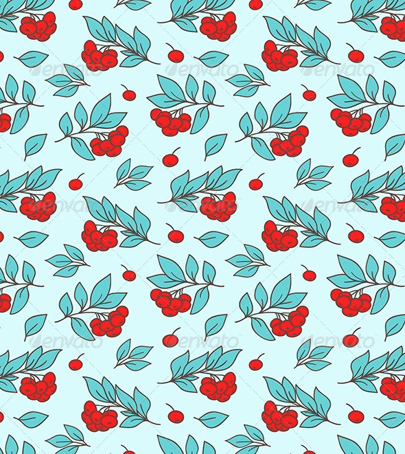 GraphicRiver Seamless Pattern with Red Rowanberry 7724073