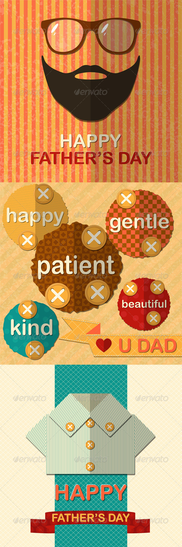 Three Father's Day Greetings Cards