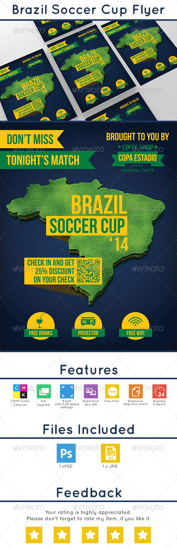 GraphicRiver Brazil Soccer Cup Flyer 7716055
