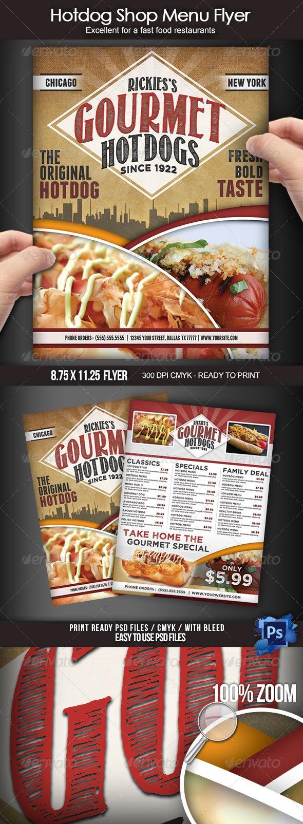 sandwich shop menu template - design poster retro hotdog psd