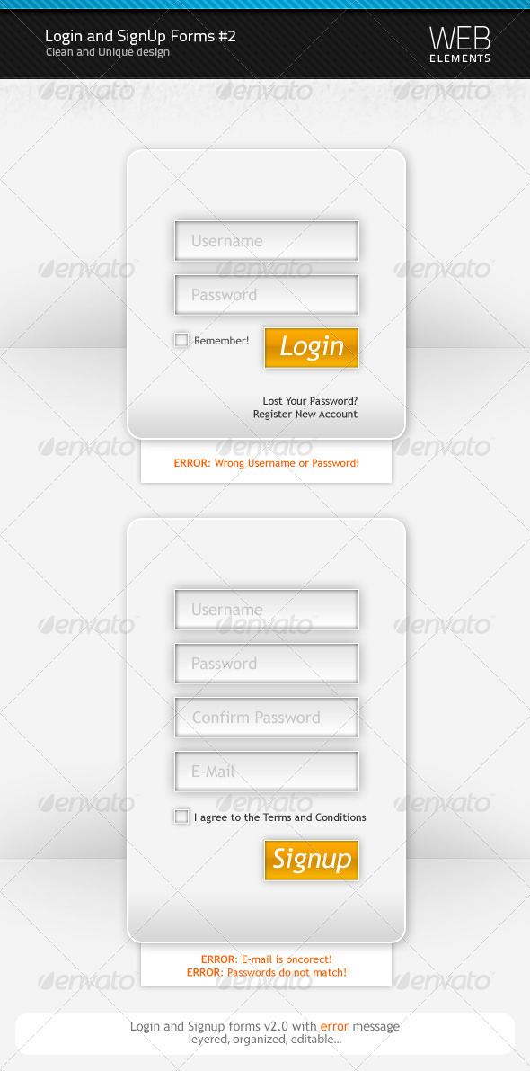 GraphicRiver Login and Signup forms v2.0 91967