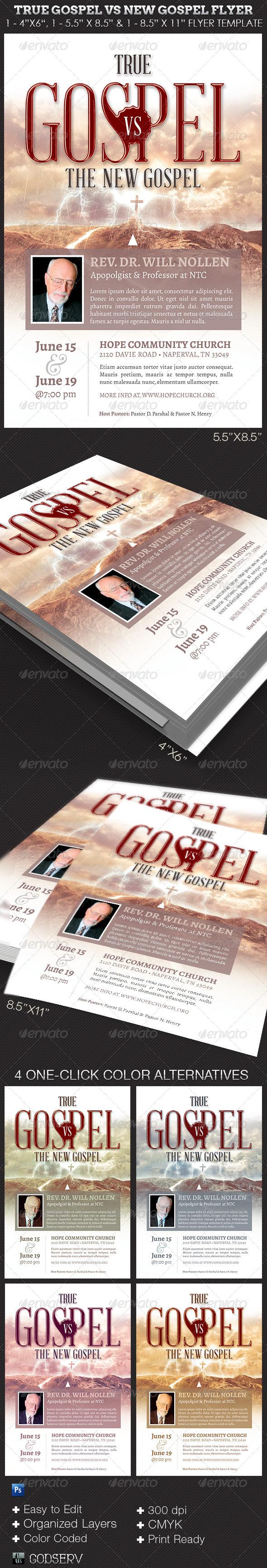 GraphicRiver True Gospel vs New Gospel Church Flyer Template 7767656