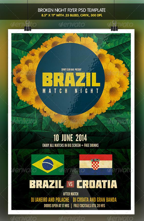 GraphicRiver Brazil Match Party 2 Brazil 14 Flyer 7767698