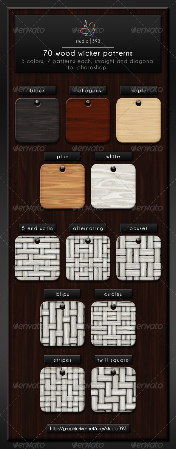 GraphicRiver 70 5x7x2 Seamless Wicker Patterns for Photoshop 7776459