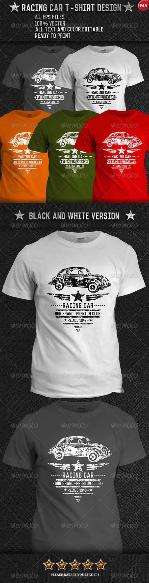 GraphicRiver grunge Racing car T-Shirt Design 7778808