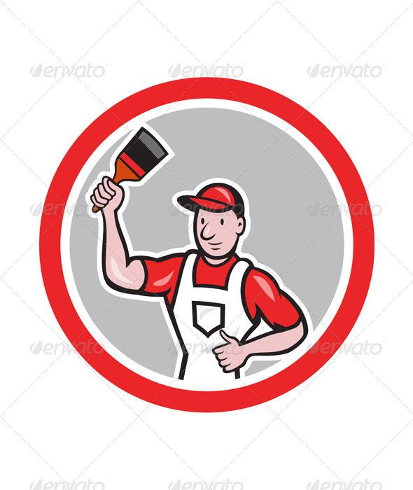 GraphicRiver House Painter Holding Paintbrush Circle Cartoon 7780004