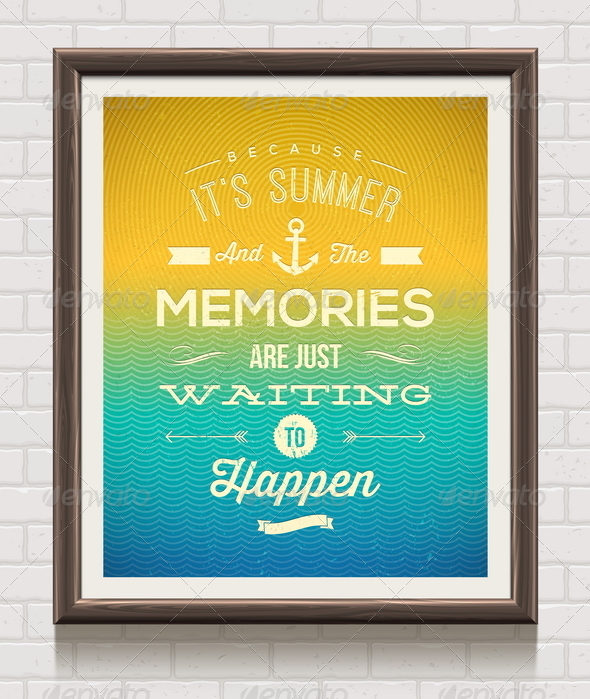 GraphicRiver Vector Vintage Poster with Summer Vacation Quote 7782146