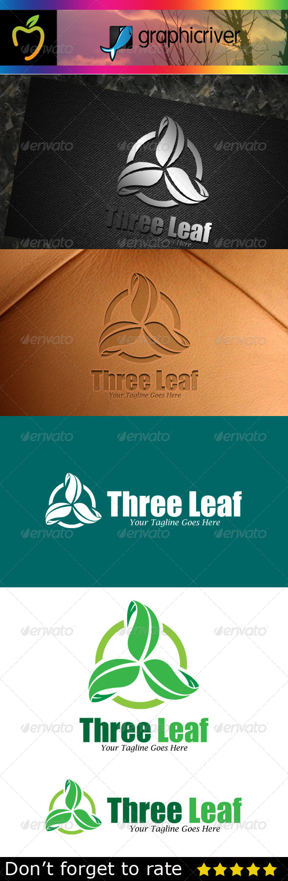 GraphicRiver Three Leaf Logo 7783369