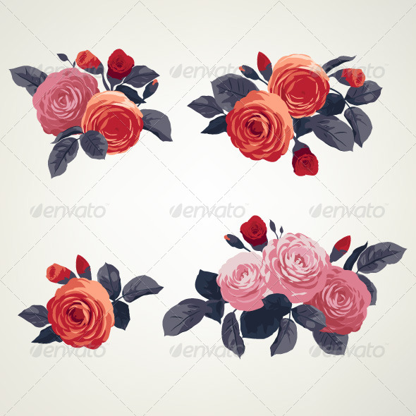 GraphicRiver Set of Bouquets of Roses 7784797