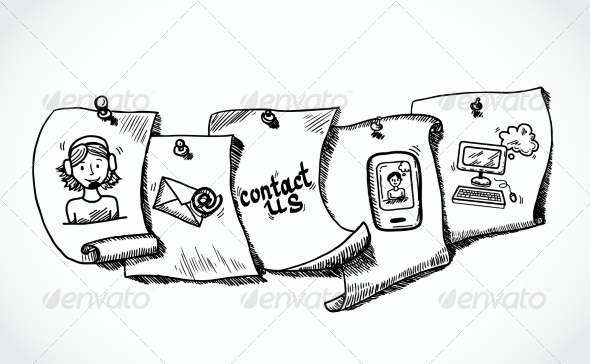 GraphicRiver Contact Us Icons Paper Tags Sketch 7785583