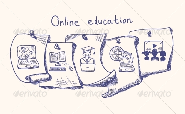 GraphicRiver Online Education Sticker Set 7785595
