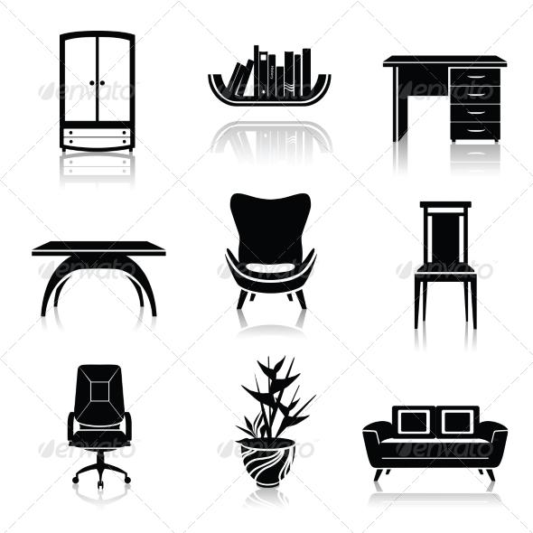 GraphicRiver Furniture Black Icons 7785601