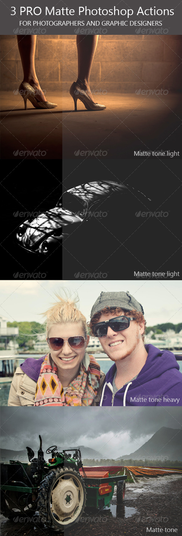 GraphicRiver 3 PRO Matte Photoshop Actions 7785911