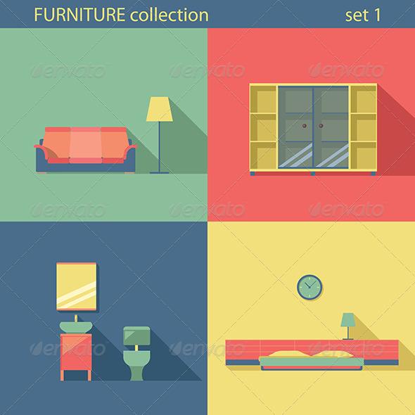 GraphicRiver Furniture Set Flat Long Shadow Interior 7786405