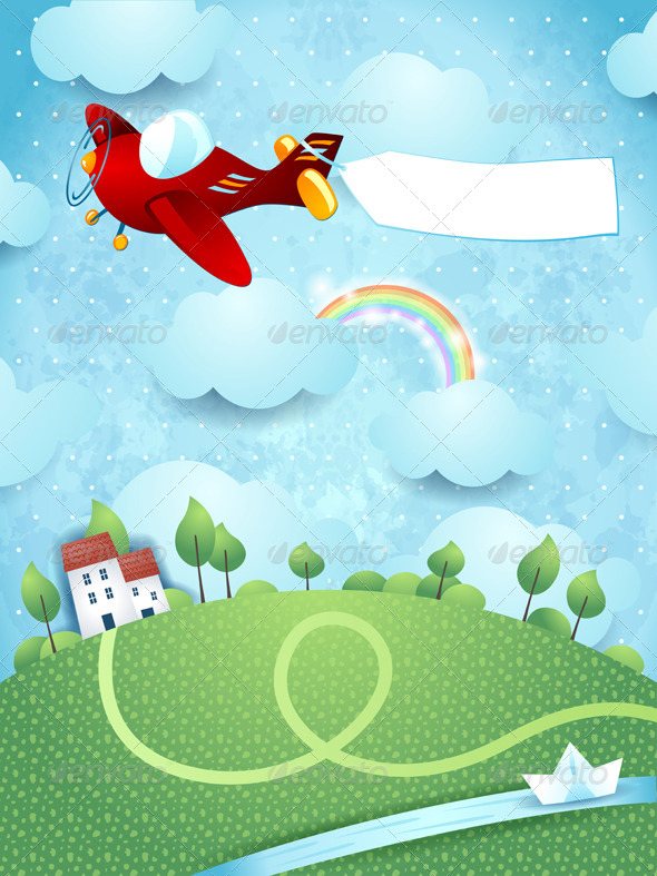 GraphicRiver Fantasy Landscape with Airplane Banner and River 7791206