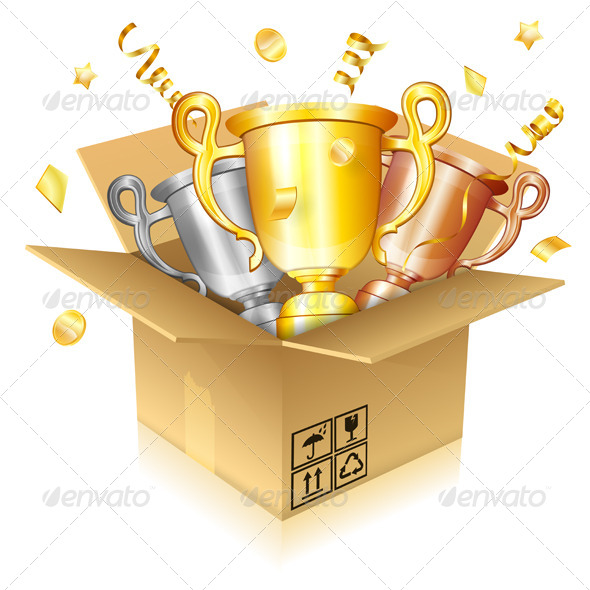 GraphicRiver Set of Gold Silver and Bronze Trophies 7791278