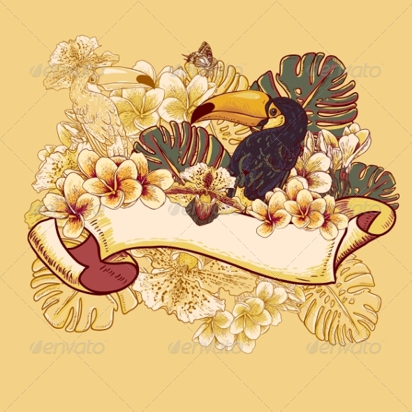 GraphicRiver Tropical Exotic Floral Card with Toucan 7792854