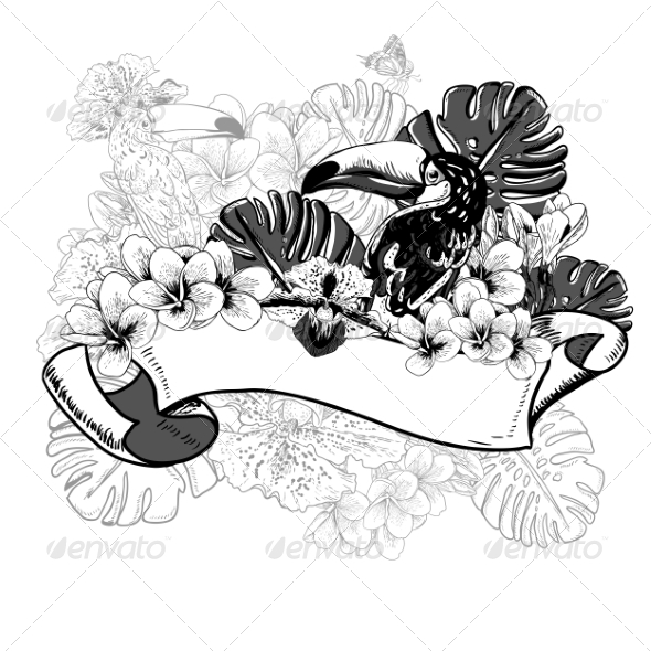 GraphicRiver Tropical Exotic Floral Card with Toucan 7792865