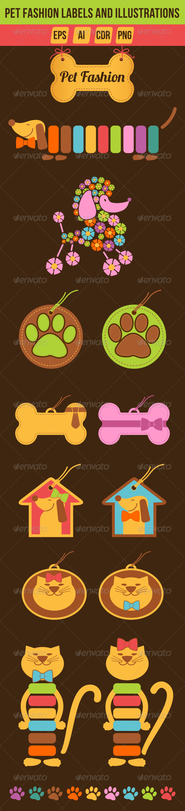 GraphicRiver Pet Fashion Labels and Illustrations 7793325