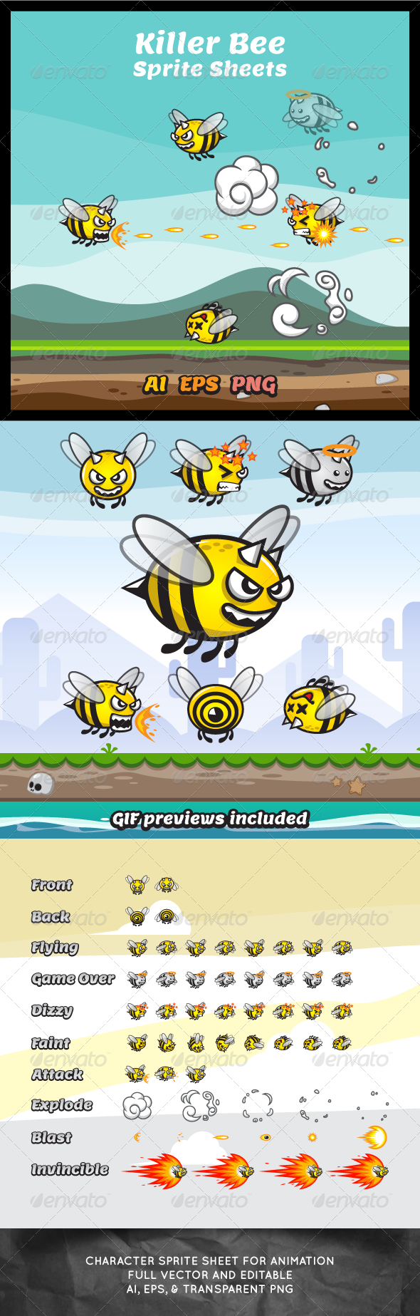 GraphicRiver Killer Bee Game Character Sprite Sheets 7793821