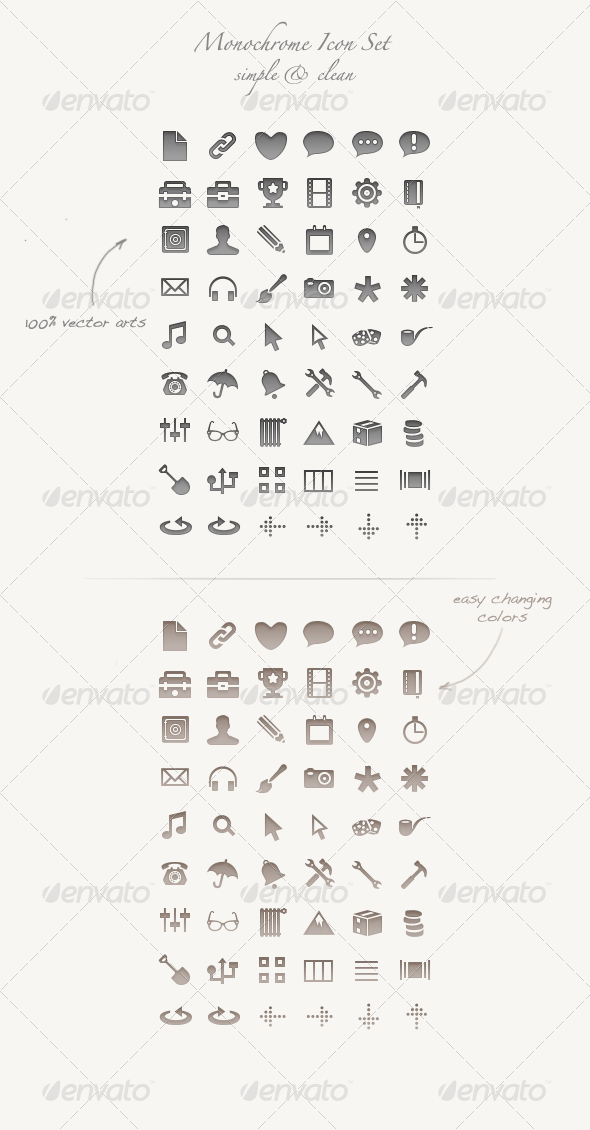 Graphic River Monochrome Icon Set 100% vector arts PSD / CSH Icons -  Web 796498